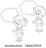schoolchildren answer in class | Shutterstock .eps vector #186625934