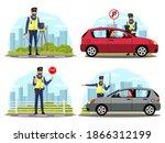 police officer regulating... | Shutterstock .eps vector #1866312199
