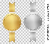 golden and silver stamps with... | Shutterstock .eps vector #1866314986