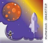 illustration of an astronaut... | Shutterstock . vector #1866357319