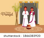 south indian couple standing... | Shutterstock .eps vector #1866383920