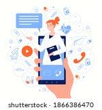 doctor on smartphone screen in... | Shutterstock .eps vector #1866386470
