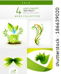 mega collection of leaf concept ... | Shutterstock .eps vector #186639020