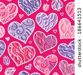 abstract lined vector hearts... | Shutterstock .eps vector #186641513