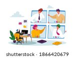 workers webcam group conference ...   Shutterstock .eps vector #1866420679