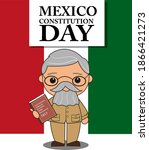 Model of Venustiano Carranza cartoon with the Political Constitution of the United Mexican States 1917 book on his hand for celebrate holiday in Mexico