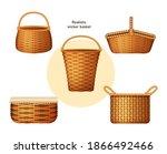 realistic wicker basket set.... | Shutterstock .eps vector #1866492466