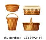 realistic wicker basket set.... | Shutterstock .eps vector #1866492469