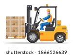 Yellow Forklift Truck With...