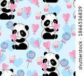 seamless pattern panda bear... | Shutterstock .eps vector #1866536839