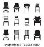 different chair black icons set | Shutterstock .eps vector #186654080