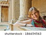 beautiful smiling woman tourist ...   Shutterstock . vector #186654563