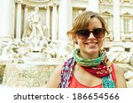 beautiful smiling woman tourist ... | Shutterstock . vector #186654566