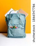 blue backpack with different...   Shutterstock . vector #1866547786