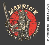 vintage samurai label with... | Shutterstock .eps vector #1866561406