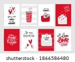 valentines day vector card set... | Shutterstock .eps vector #1866586480