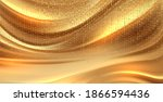 beautiful gold satin. drapery... | Shutterstock .eps vector #1866594436