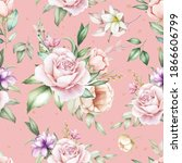 hand drawn floral watercolor...   Shutterstock .eps vector #1866606799