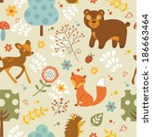 colorful woodland animals ... | Shutterstock .eps vector #186663464