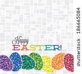 bright retro happy easter card... | Shutterstock .eps vector #186665084