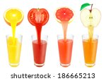 fresh fruit juice flowing from... | Shutterstock . vector #186665213