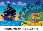 pirate theme with treasure... | Shutterstock .eps vector #186665876