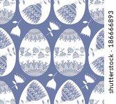 seamless pattern on easter theme | Shutterstock .eps vector #186666893