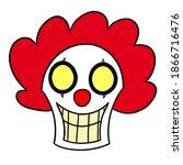 Creepy Scary Cartoon Clown Head