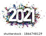 2021 paper sign on multicolored ... | Shutterstock .eps vector #1866748129