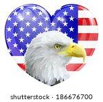 eagle america love heart... | Shutterstock .eps vector #186676700