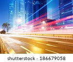 the light trails on the modern... | Shutterstock . vector #186679058