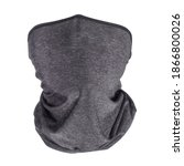 Small photo of Grey neck gaiters front view. Isolated on white, clipping path included