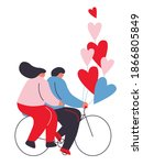 couple in love on a bicycle...   Shutterstock .eps vector #1866805849