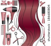 hairdresser equipment with hair | Shutterstock .eps vector #186680804