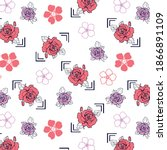 roses pattern with decorative... | Shutterstock .eps vector #1866891109