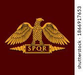 golden symbol of roman eagle... | Shutterstock .eps vector #1866917653