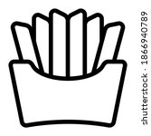 french fries icon with outline...