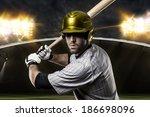 baseball player on a yellow... | Shutterstock . vector #186698096