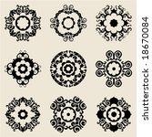 baroque flower icons   Shutterstock .eps vector #18670084