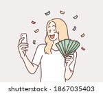 woman holding smartphone and... | Shutterstock .eps vector #1867035403