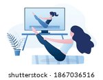 yoga course streaming on tv or...   Shutterstock .eps vector #1867036516