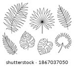 set of exotic tropical leaves... | Shutterstock .eps vector #1867037050