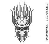 skull head of robot with... | Shutterstock .eps vector #1867065313