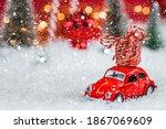 Christmas Red Retro Car With...