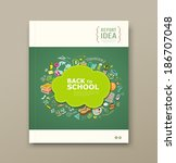 cover magazine educations with... | Shutterstock .eps vector #186707048