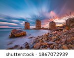 Windmills At Sunset In Chios...