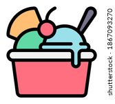 sundae icon with filled outline ...