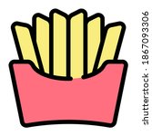 french fries icon with filled...