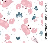 seamless pattern with cute... | Shutterstock .eps vector #1867104340