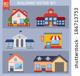 modern  flat vector  buildings... | Shutterstock .eps vector #186713753